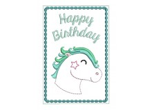 Stickdatei - ITH Postkarte Happy Birthday Pferd